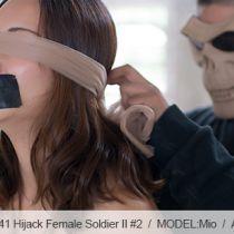 No.00541 Hijack Female Soldier II #2 今回股縄の調教はもと厳しくなります、菱縄縛りと片足吊りも。なんと美しい女性兵士ビキニ緊