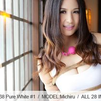 No.00368 Pure White #1 [28Pics] 後高手小手縛りの白色競泳水着に肌シルクパンスト、新人のモデルMichiruは初めて縄で縛られます