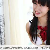 No.00504 Sailor swimsuit #2 [24Pics] セーラースクール水着を着て化粧せずに黒い髪の少女の後高手小手縛り。